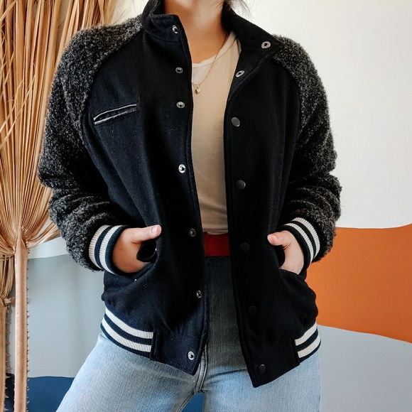 Forever 21 Jackets & Blazers - Varsity Stripe Wool Fuzzy Bomber Jacket in Black